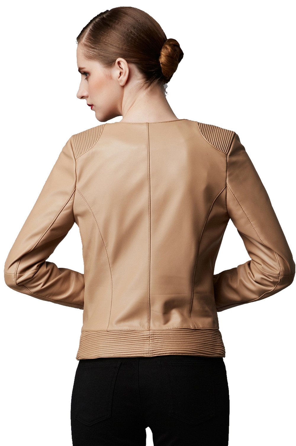 High Quality Fashion Girls Beige LeatherJacket