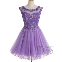 Modern fashion short lace top purple tulle backless puffy short prom dresses with beads sequins