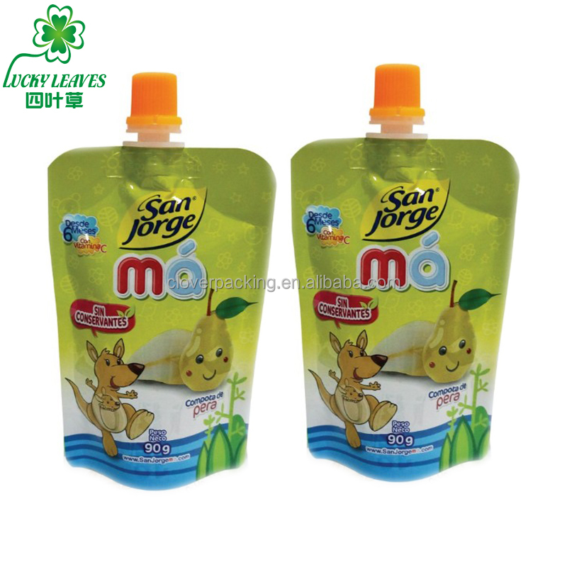 OEM compound printing stand up spout pouch for baby and kids squeezed spout baby food pouch