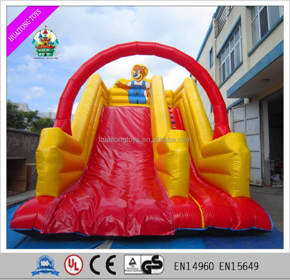 Red rainbow bridge cartoon characters inflatable dry slide for kids