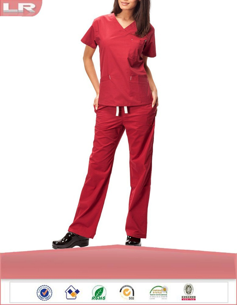 Wholesale Women's 3-Pocket Classic Scrub Set/Hospital Staff Uniforms/Medical Uniforms