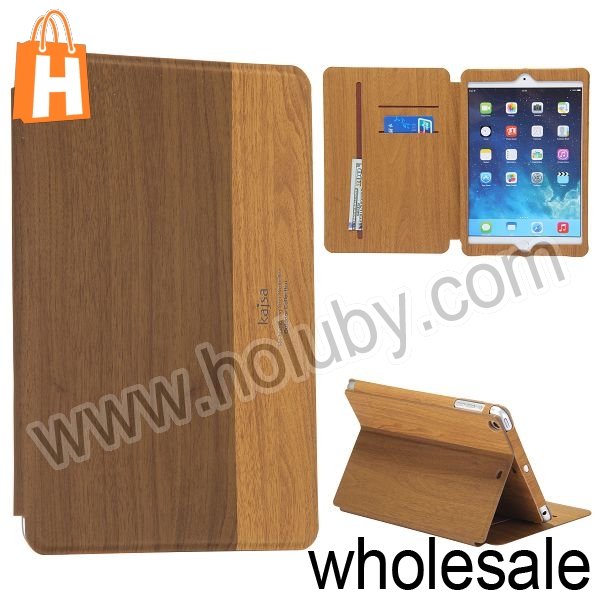 Kajsa Wood Pattern Card Holder Stand Flip Leather Case for iPad Mini 2 Retina iPad Mini