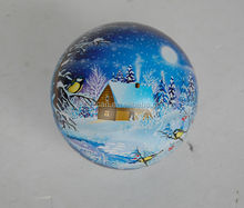 new styleChristmas Decoration metal ball Christmas ball shape tin can Christmas gift tin ball for candy