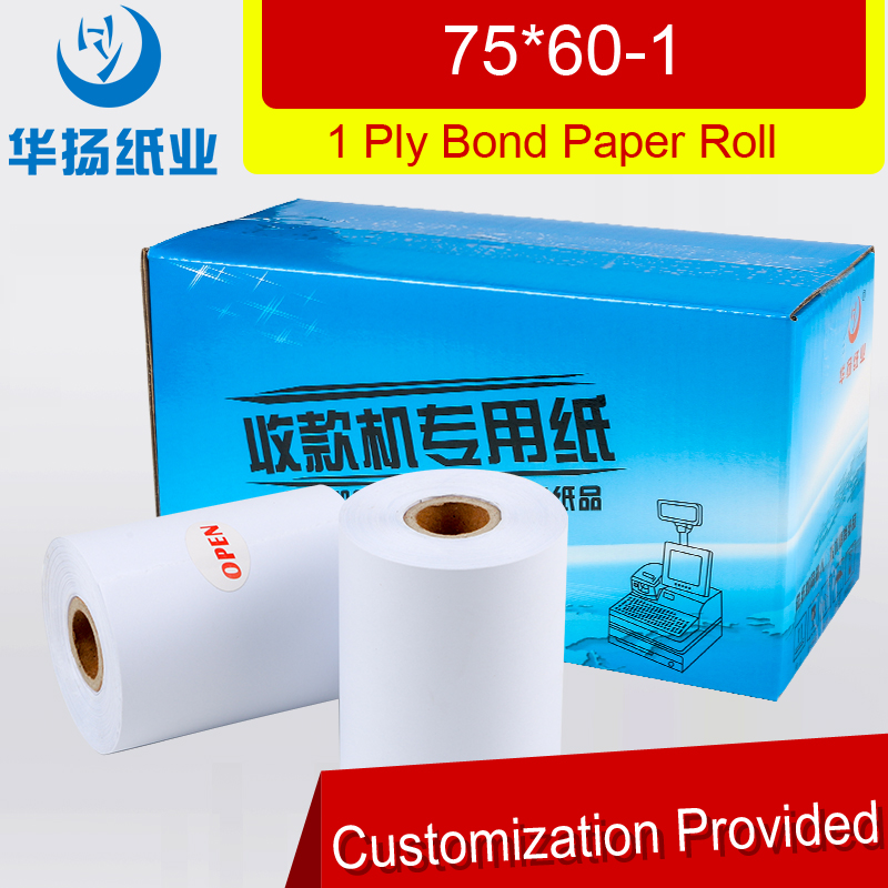 Single ply cash register bond paper roll