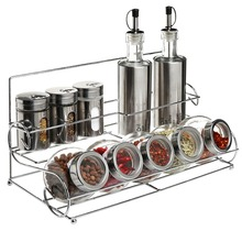Stainless Steel Condiment Set With 2 Oil / Vinegar Bottle Cruets, 3 Shaker Spice Jars, 5 Glass Canister Jars & Chrome Rack