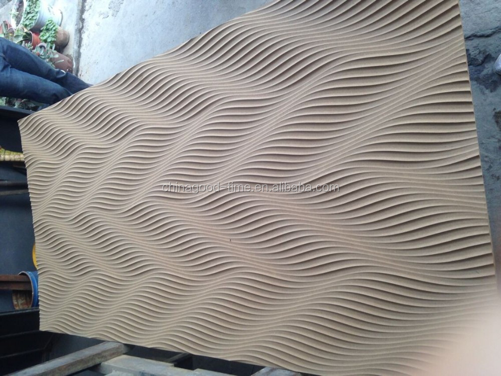 Wall decoration 3d wave mdf board corrugated wall panel for Panneau mural deco