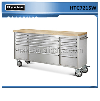 Stainless steel 72 inch 15 drawer utility box roller Tool storage Cabinet on wheel