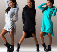 Fashion Style Women Female Irregular Long Sleeved Dresses Hooded Cotton dresses