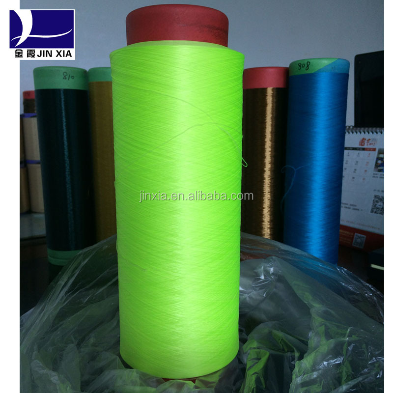 100% polyester dope dyed Fluorescent color yarn