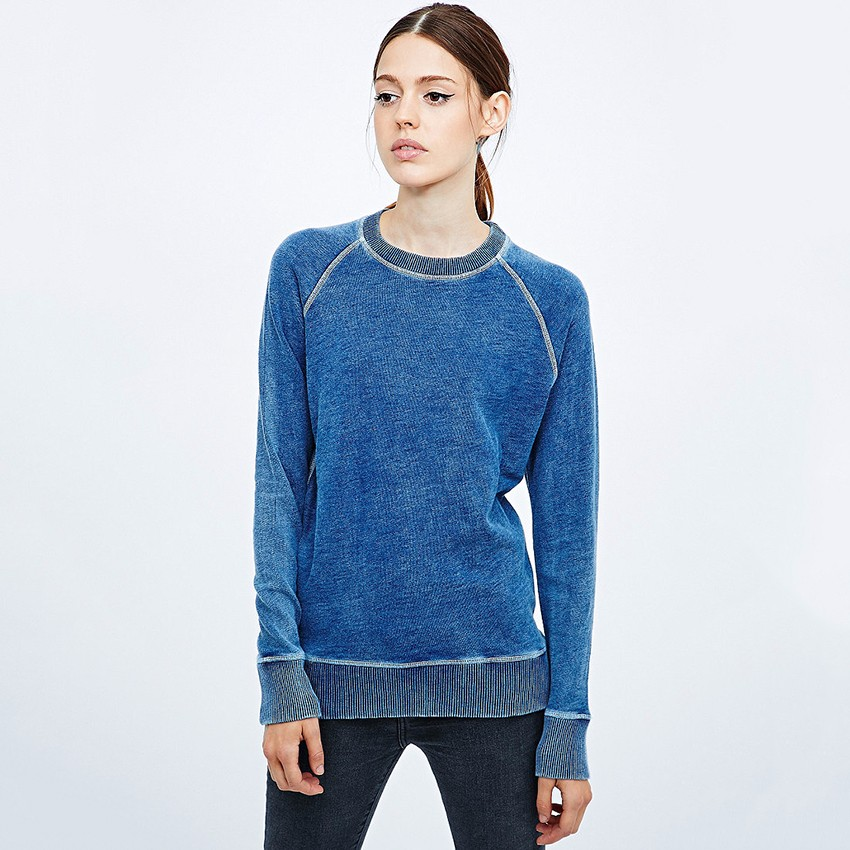 Custom top stitch sweatshirts, cotton acid vintage wash french terry blank wholesale plain crewneck raglan sweatshirt women