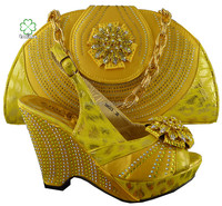 high quality fashion wholesale latest yellow matching shoes and bags