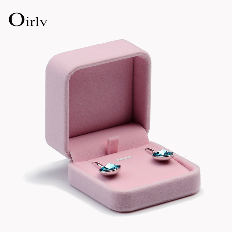Oirlv Custom Jewellery Gift Boxes For Ring Necklace Pendant Bracelet Packaging Jewelry Pink Velvet Earring Box