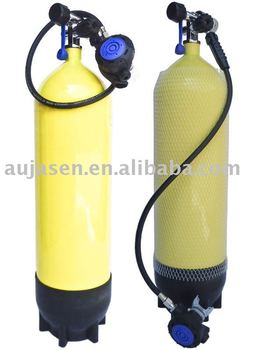 Yellow painted oxygen cylinder for scuba diving