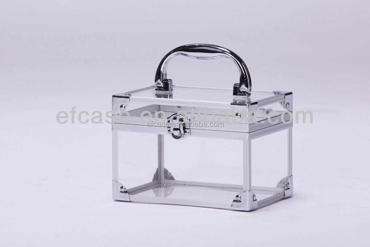 TRANSPARENT ACRYLIC COSMETIC CASE ,MAKEUP CASE ,BEAUTY BOX WITH ALUMINUM FRAME