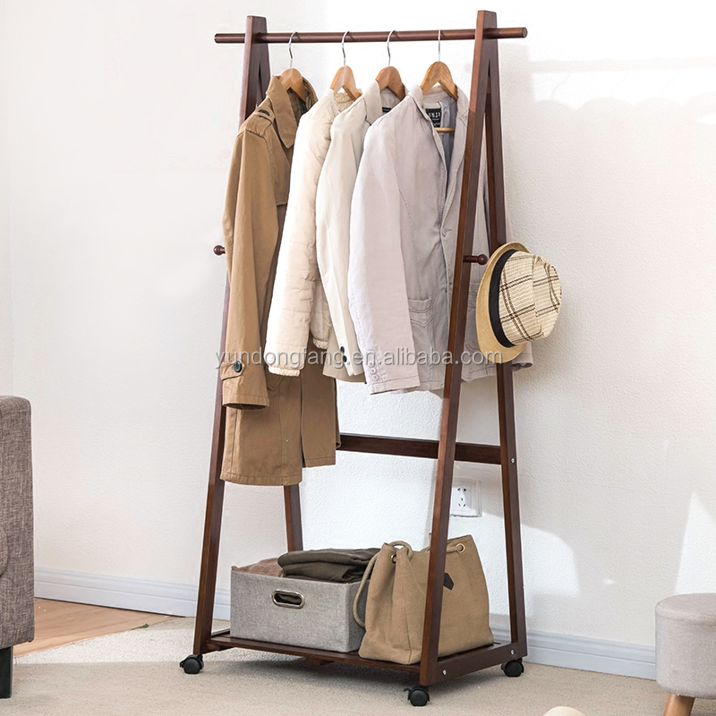 Creative single deck household coatrack with pulley, ground hanging clothes wooden display rack