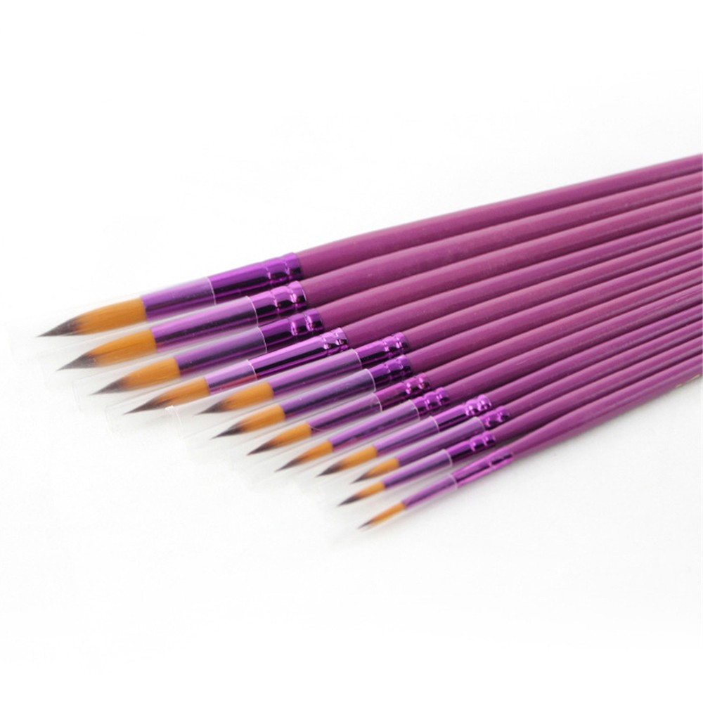 Bona 12pcs Purple Nylon Watercolor Oil Art Painting Round Brush Paint Brush