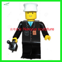 black lego game character statue cartoon statue from Nanyue sculpture factory for sale