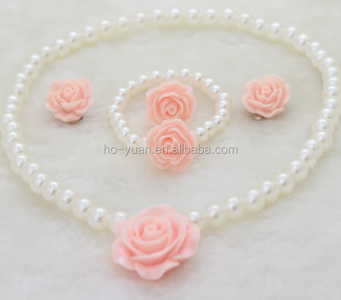 hot selling princess accessories flower necklace ring in jewelry