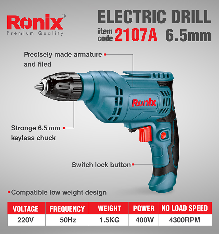 RONIX good quality  6.5mm-400w mini electric drill(2107A)