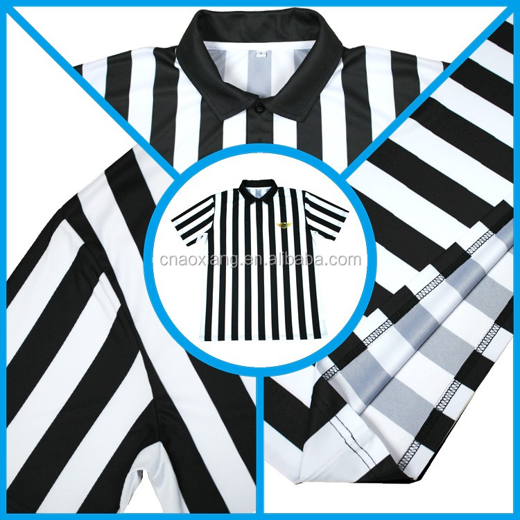 Hot sale Customize black and white stripe football referee jersey for adult men