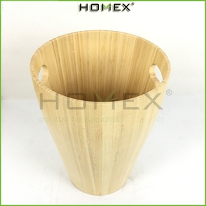 Eco-friendly Bamboo office paper trash bin/Bamboo Waste Basket Trash Can Waste Bin/Homex-fatory