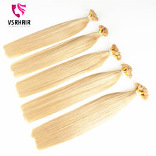 Russian remy hair grade prebonded blonde i u flat tip keratin hair extension