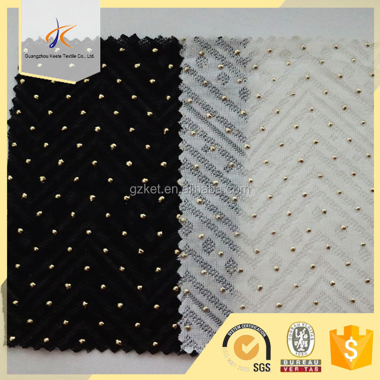 56'' width knitted 100% Tencel beaded jacquard jersey fabric wholesale