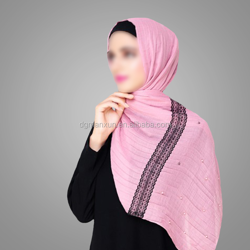 Popular design Islamic Clothing Dubai Hijab Ladies Muslim Single Lace Beads Pink Scarf Stylish Niqab