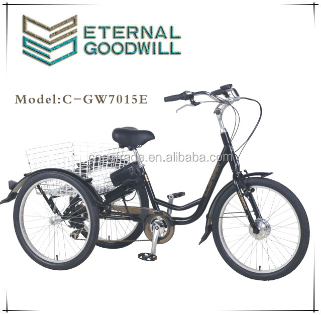 3 wheels electric adult tricycle cargo motor 7 speeds bicycles battery bisiklet GW7015E for adults wholesale china bikes