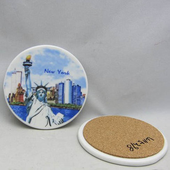 water absorbent ceramic coaster with cork back