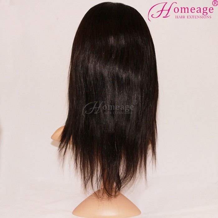 Homeage silky straight human hair ladies short hair wig color 1b