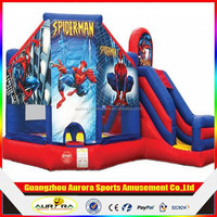 2016 New Commercial Spiderman Inflatable Bouncer Castle Slide with full pringting