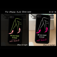 Fashion new shoes pattern for iphone 5 glow case light at night waterproof case for iphone 5 phone case