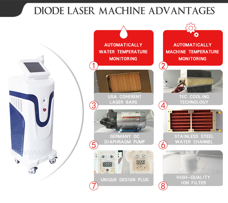 Powerful laser diode 808nm / laser diode hair removal machine