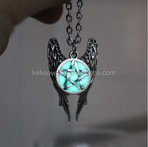 Antique Pentagram Pentacle Angel Wings Pendant Supernatural Necklace Luminous Necklace GLOW in the DARK gift