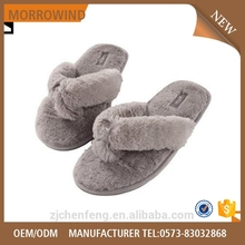 comfortable warm faux fur flip flop for indoor use