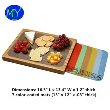 Easy to Clean Durable Multi-purpose Bamboo Cutting Board and 7 Color-Coded Removable Flexible Cutting Mats with Food Icons Set