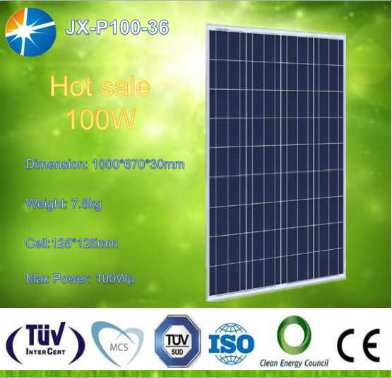 Full certificated and high efficiency high watt solar module poly 100w solar panel
