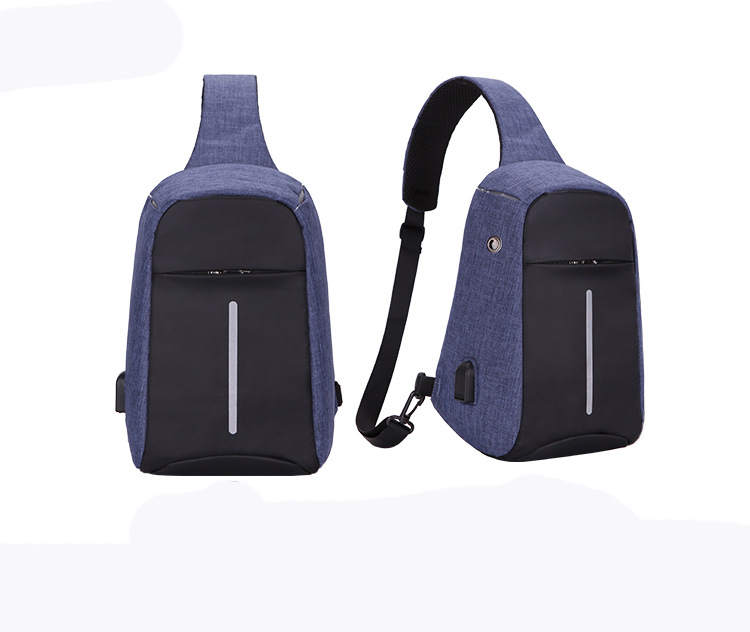 2018 Fashion stylish drop shipping Anti-theft USB sling chest bag , anti-theft USB backpack with one shoulder strap