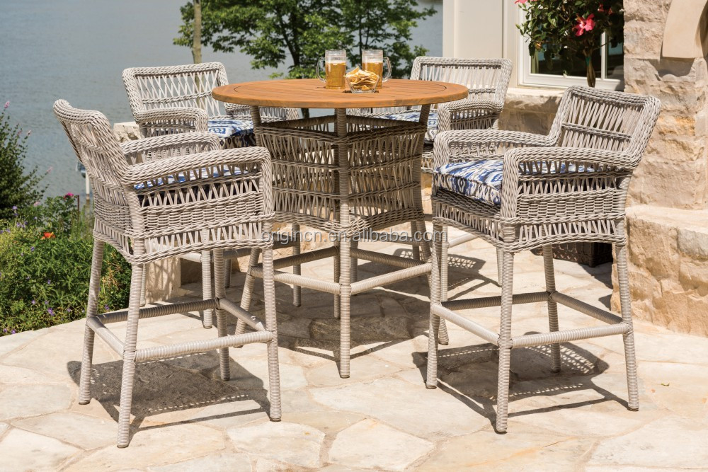 Synthetic PE rattan covered terrace outdoor bar chair with open weave wicker stool