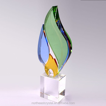 Luxury High Quality Colorful Crystal Trophy for Personalized Name Engraving