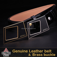 3.8cm fashion lady belt genuine leahter Cowhide with black enamel brass buckle gift