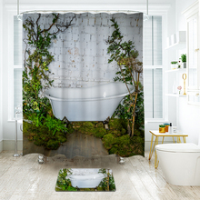Simple Waterproof Printing Polyester Shower Curtain