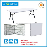 outdoor suitcase picnic 6-foot folding table for sale,1.8m long table fold in half top for camping