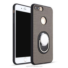 Shockproof Plaids TPU PC 2 in1 hybrid vehicle-mounted magnetic phone bumper armor ring holder Kickstand case for iphone 7/X/8/6