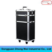 Black Aluminum Rolling Makeup Case Salon Cosmetic Box Organizer Trolley Beauty Train Case