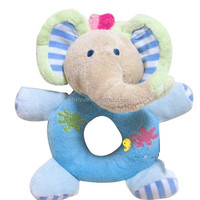 Infant plush elephant custom stick rattle baby squeaky toy