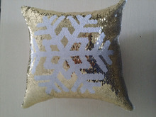 Reversible snowflake patterned cushion, two bright sequins throw pillows, a new hot pillow
