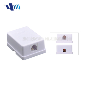 Popular surface mount box double rj11 to wire cable telphone connecter with ABS material 034178