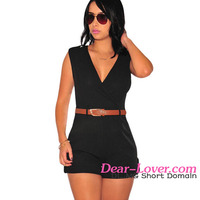 Black Buckle Up Summer Playsuit Ladies Jump Suits and Rompers Bodycon